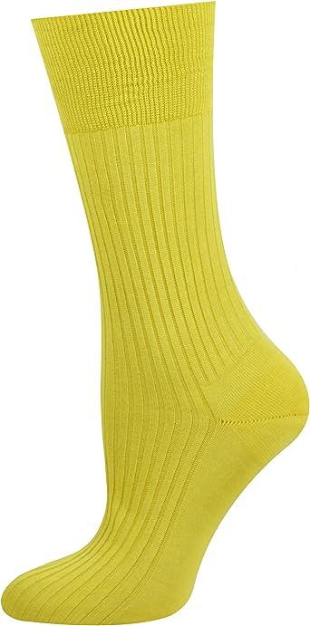 Mysocks 100% mercerizado de algodón egipcio calcetines lisos Amarillo: Amazon.es: Ropa y accesorios