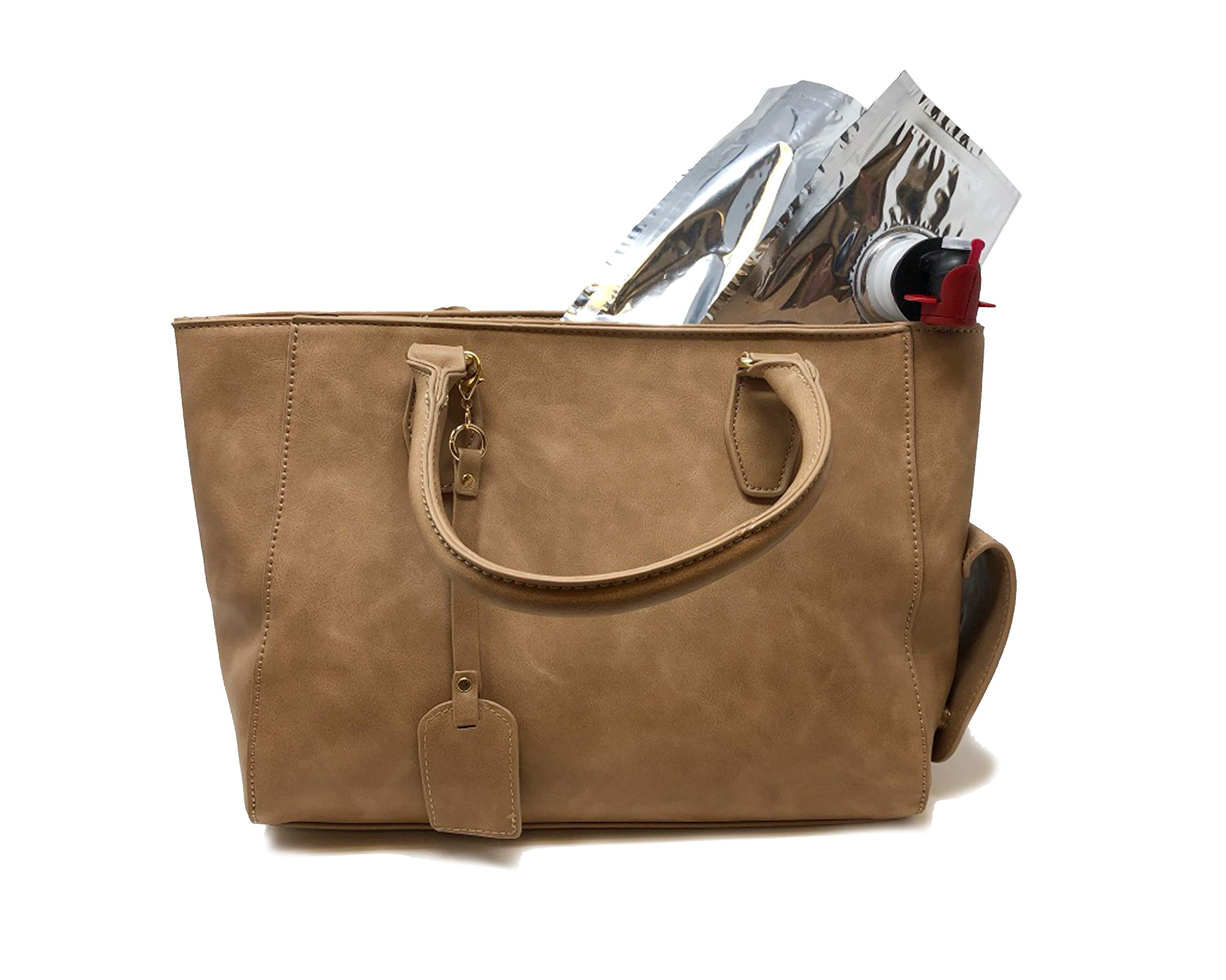 Premium Leather Wine Purse For Women | Women's 3-Liter Insulated Handbag For Drinks, Beer & Cocktails | Drink Cooler Tote Dispenser With Spout | Leak-Proof & Stylish Bladder Bag With Cocktails BROWN by 1 PARK AVENUE