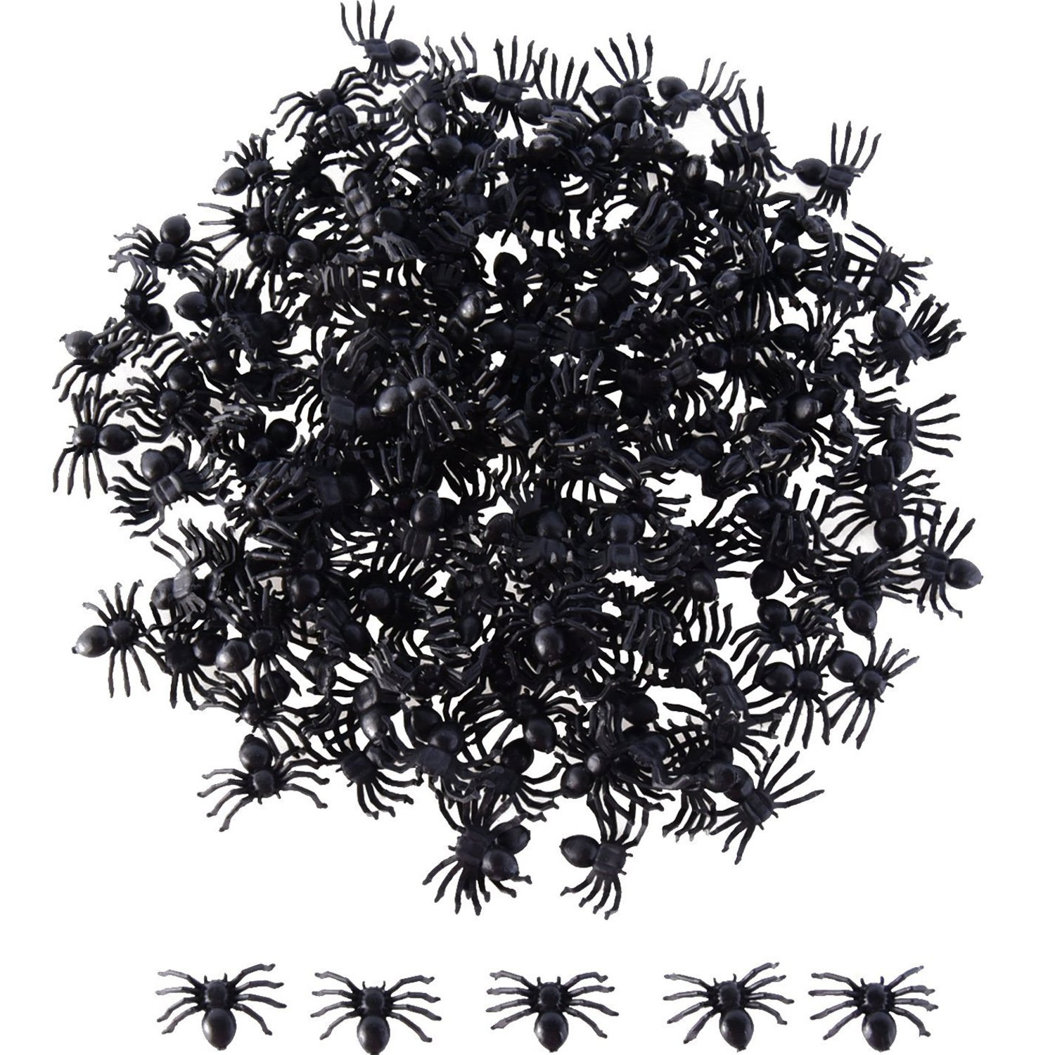 Sumind 200 Pack Halloween Black Spiders Plastic Spiders Party Favors for Halloween Decorations (Black Color)