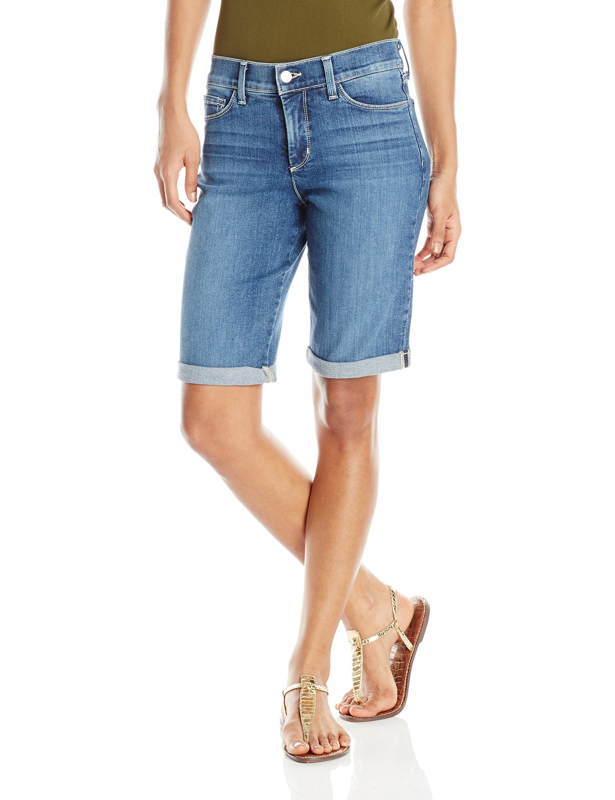 NYDJ Women's Briella Shorts in Stretch Indigo Denim, Heyburn, 14