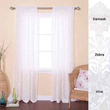 Amazon.com: Best Home Fashion Vine Burnout Sheer Curtains - Rod ...