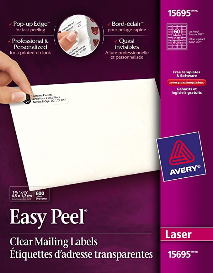 Avery Easy Peel Clear Return Address Labels For Laser Printers 23