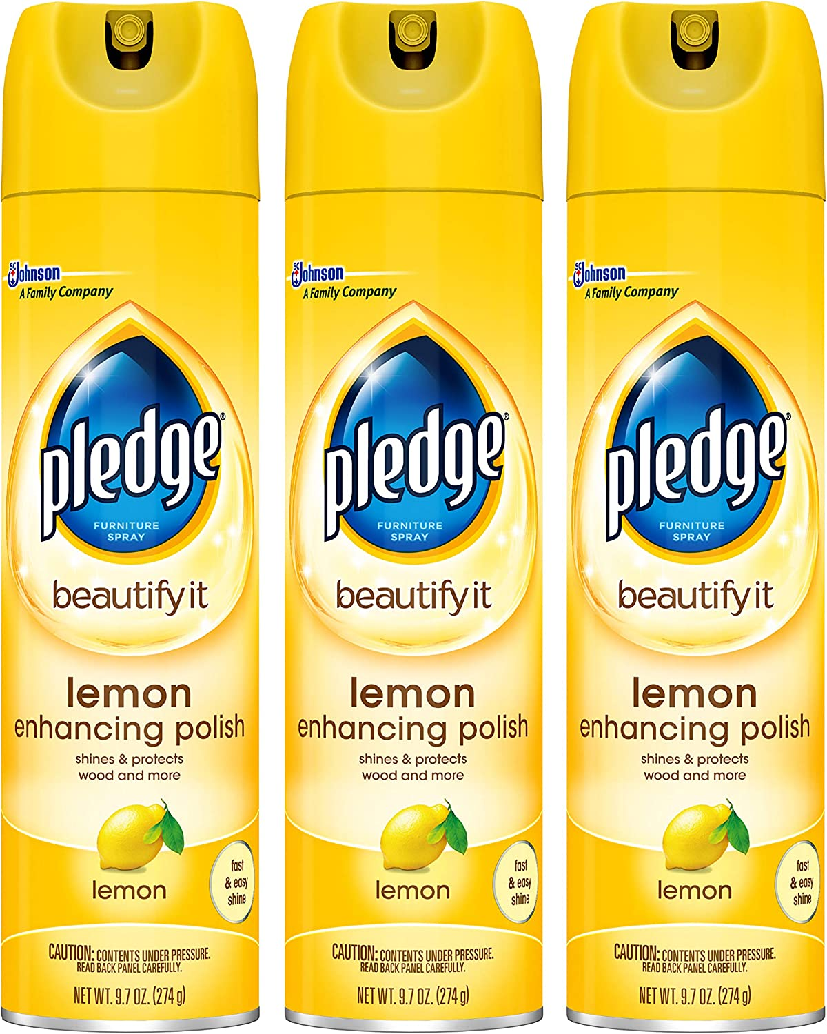 Pledge Lemon Enhancing Polish Yellow,9.7 oz, 3 ct