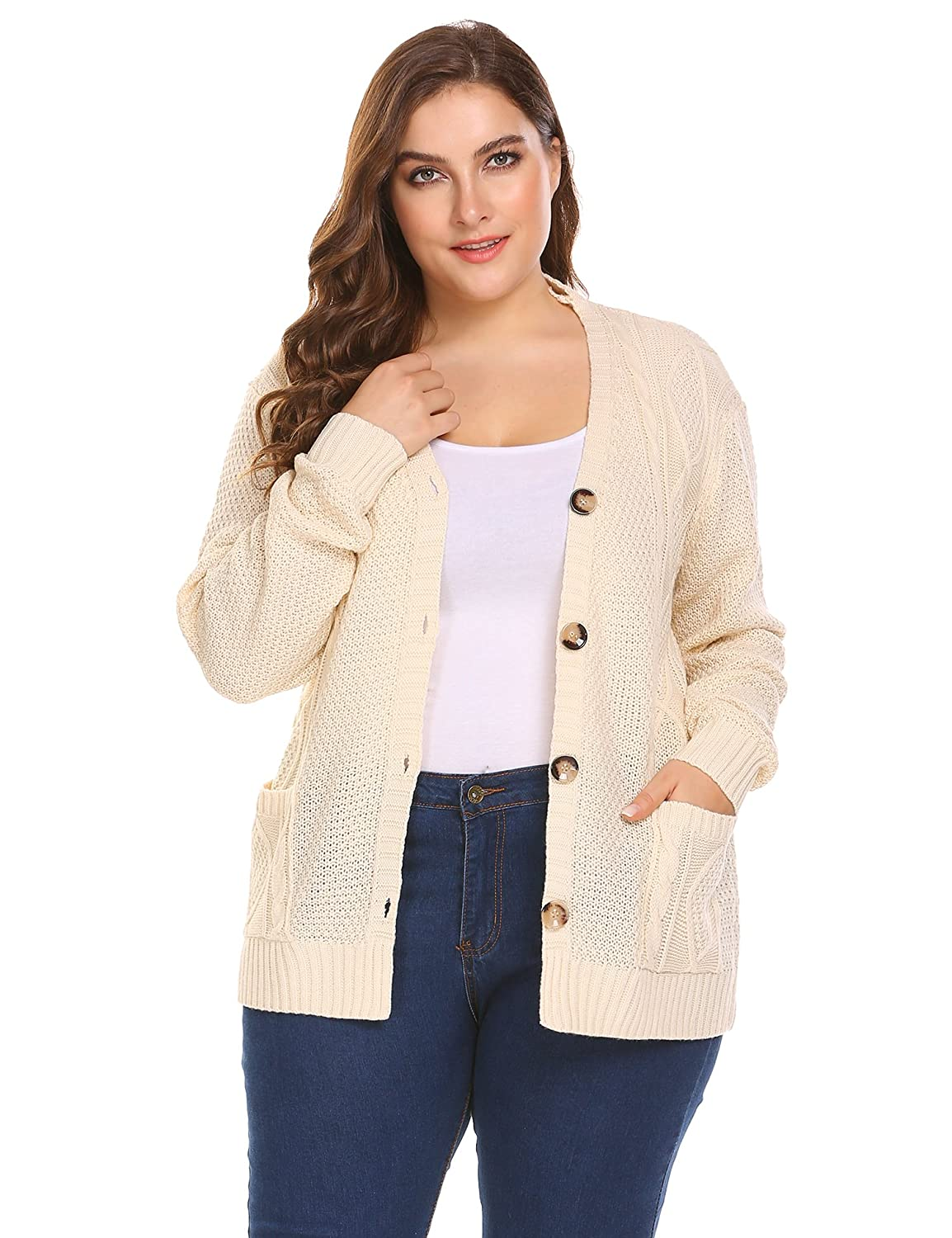 Zeagoo Womens Plus Size V-Neck Cable Knit Button Down Chunky Cardigan Sweater Coat Pockets ZTH026080