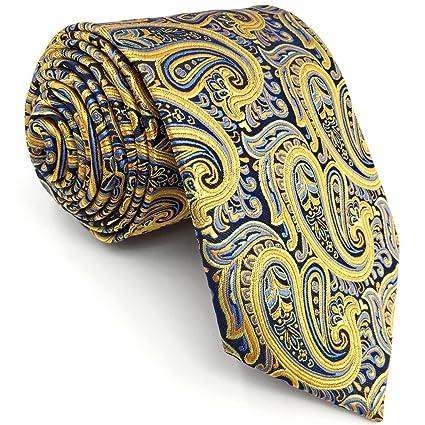 shlax&wing Men's Neckties Yellow Blue Paisley Silk IgN4ABBCmS