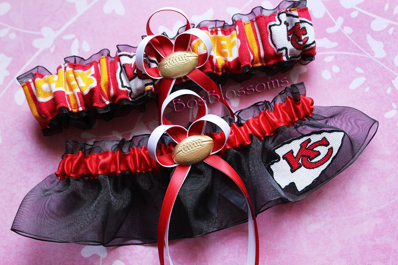 Customizable - KC Kansas City Chiefs red white gold print duck fabric handmade bridal prom black organza wedding garter set with football charm