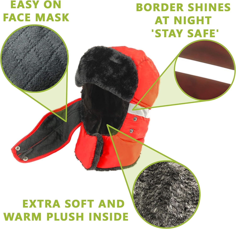 Bomber hat with Flaps Waterproof Trapper hat Trooper hat Winter Aviator hat ski Windproof Earflap Faux Fur Winter Hats for Men Women Red WinGear 2020 Russian Hats for Men Women