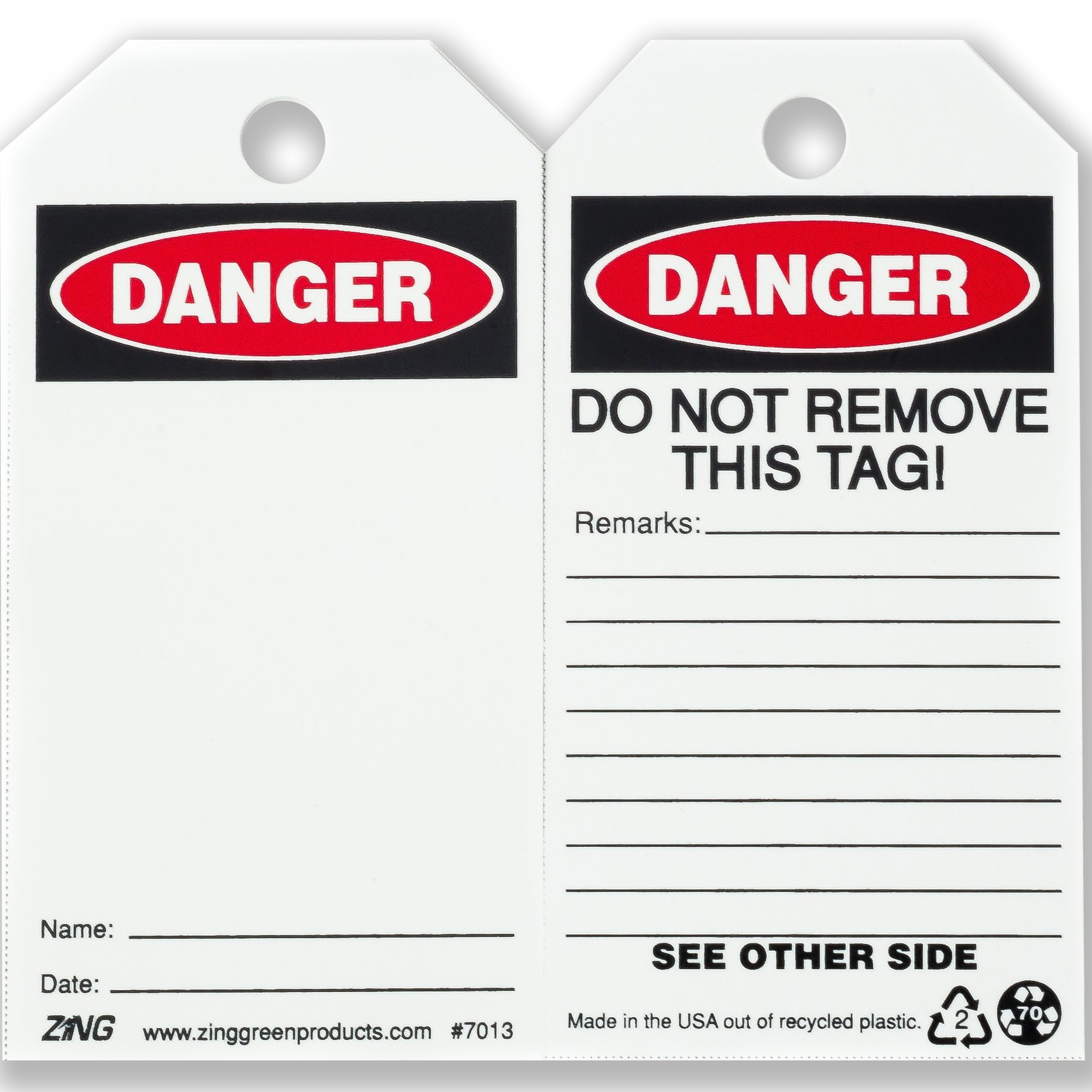 ZING 7013 Eco Safety Tag, DANGER, Blank, 5.75Hx3W, 10 Pack by Zing Green Products