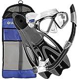 U.S. Divers Adult Cozumel Mask/Seabreeze II Snorkel/Proflex Fins/Gearbag