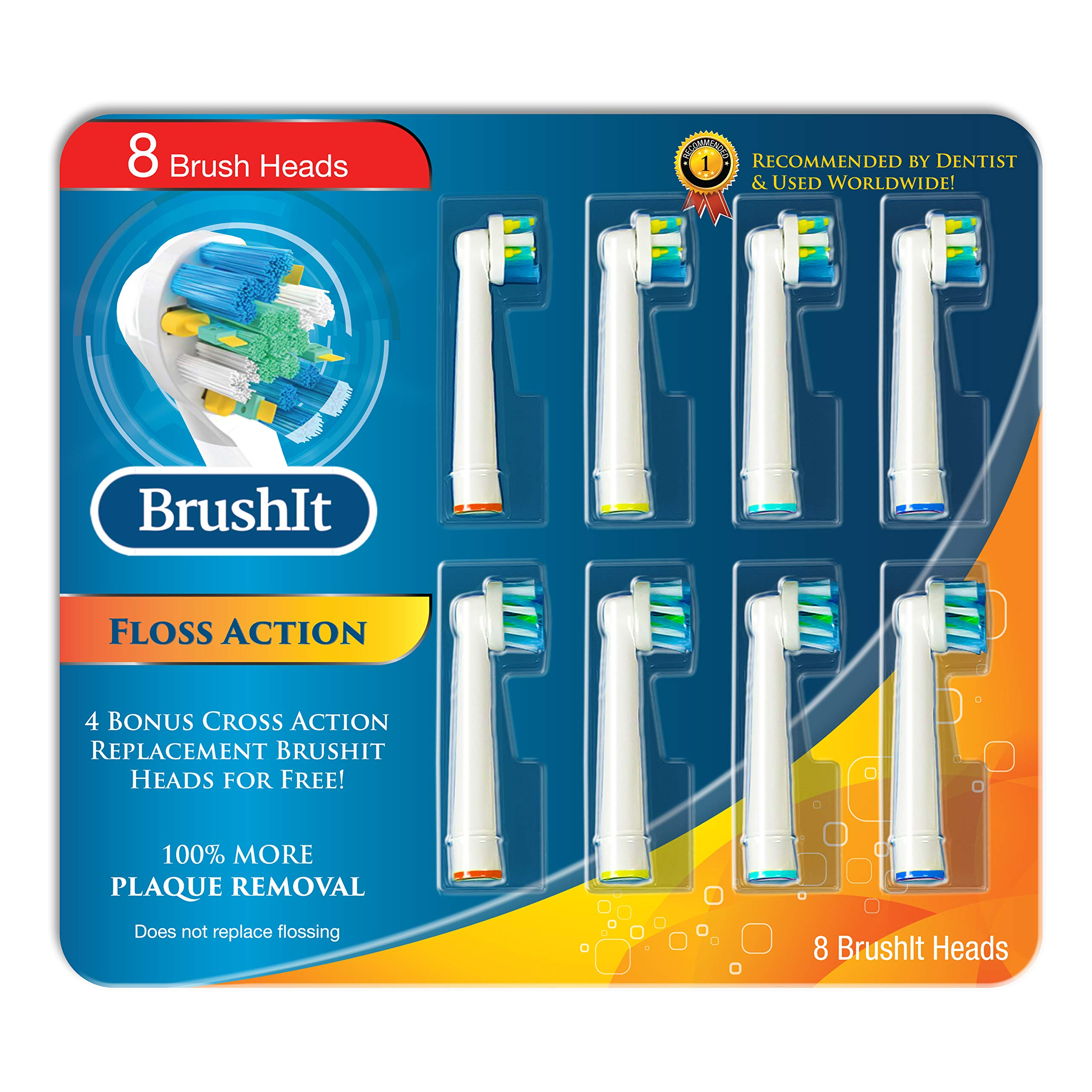 MelMel Toothbrush Replacement Brush Heads Refill for Oral B Braun Electric Toothbrush, Pro1000 Pro1500 Pro3000 Pro6000 Pro7000, Genius 8000 9600, 4 Floss Action, 4 Cross Action, 8 Count by MelMel