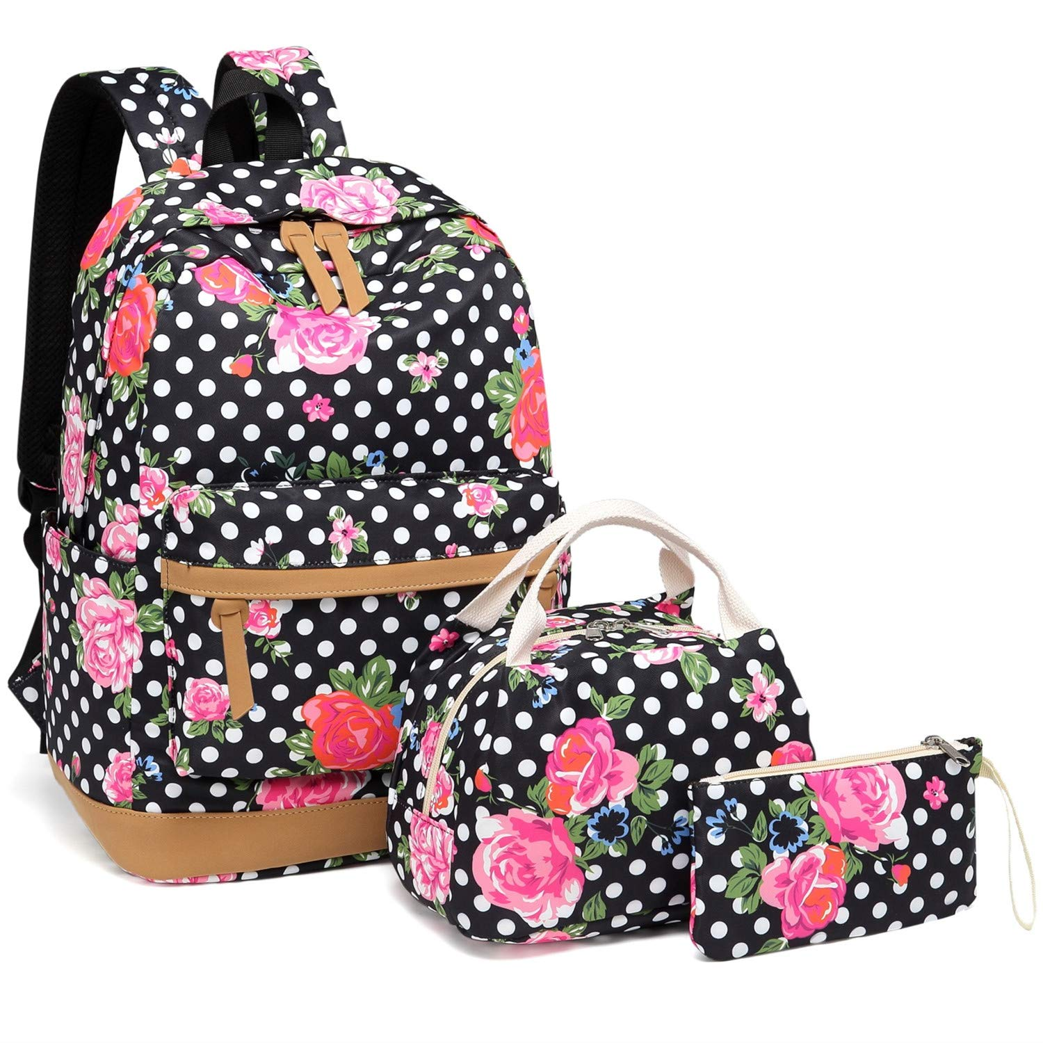 BLUBOON Girls School Backpack Bags Teens Bookbag with Lunch Box and Pencil  Case Cute (Black-E0025)