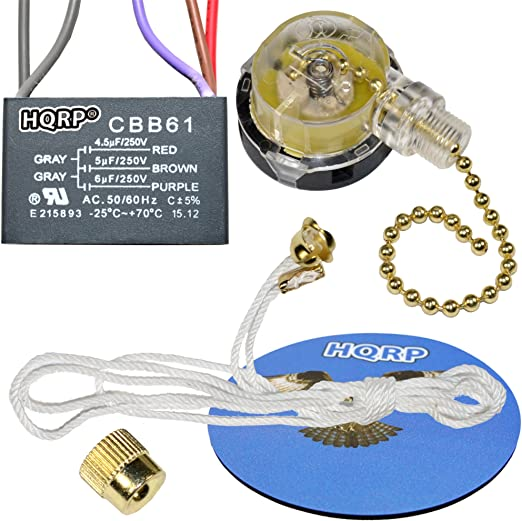 HQRP Ceiling Fan Capacitor CBB61 3uf+3.5uf+6uf 4-Wire plus HQRP Coaster