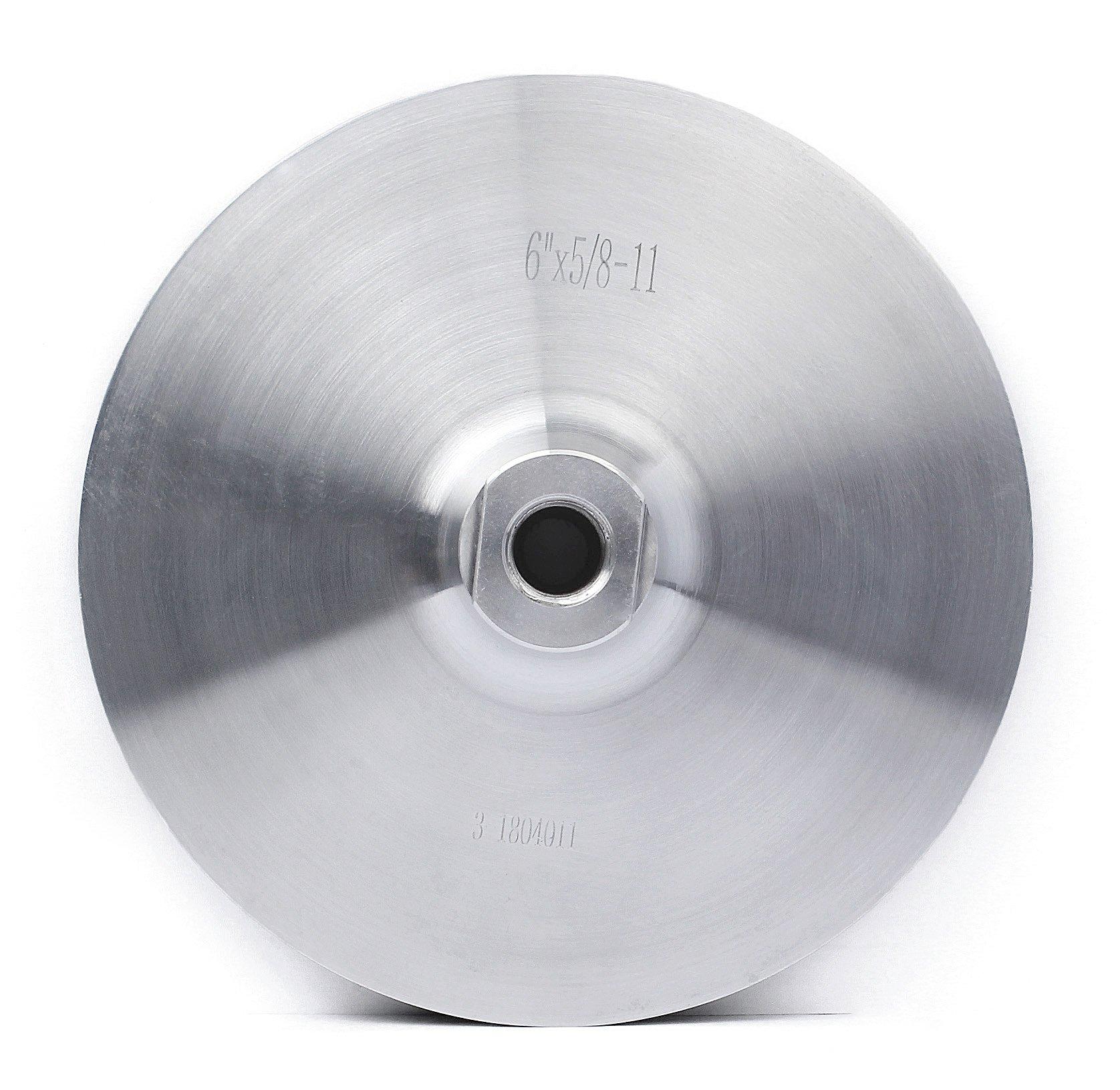 Aluminum Backer Pad 6 Inch Hook and Loop Back Holder for Grinder Sander Polishing Pads Stone Arbor 5/8'' 11