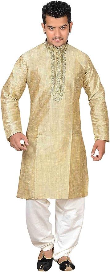Vestiti abiti Indiano Pakistano Salwar Kameez beige /& Brown FILO DA RICAMO