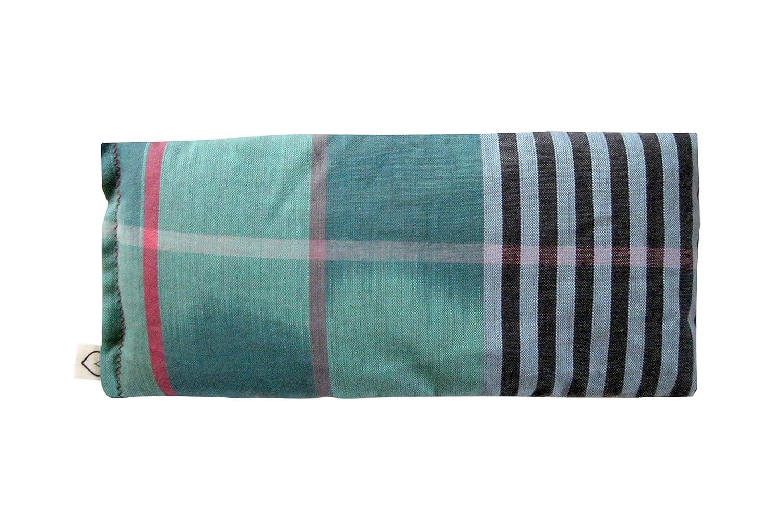 Peacegoods Scented Eye Pillows - Soft Cotton 4 x 8.5 - Lavender Flax - Soft & Soothing Aromatherapy - Yoga Massage Meditation Relaxation Travel - Green Turquoise Blue Aqua Pink Stripe Ikat Hunki Dori tropical