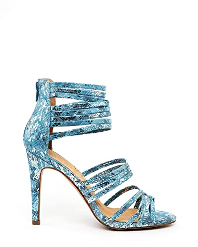 20f6a7f83a0 Jezzelle Blue Snake Print Strappy Heeled Sandals