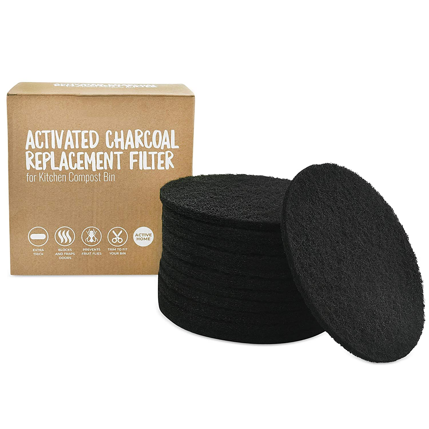 12 Pack Activated Charcoal Replacement Filters for Kitchen Compost Bin
