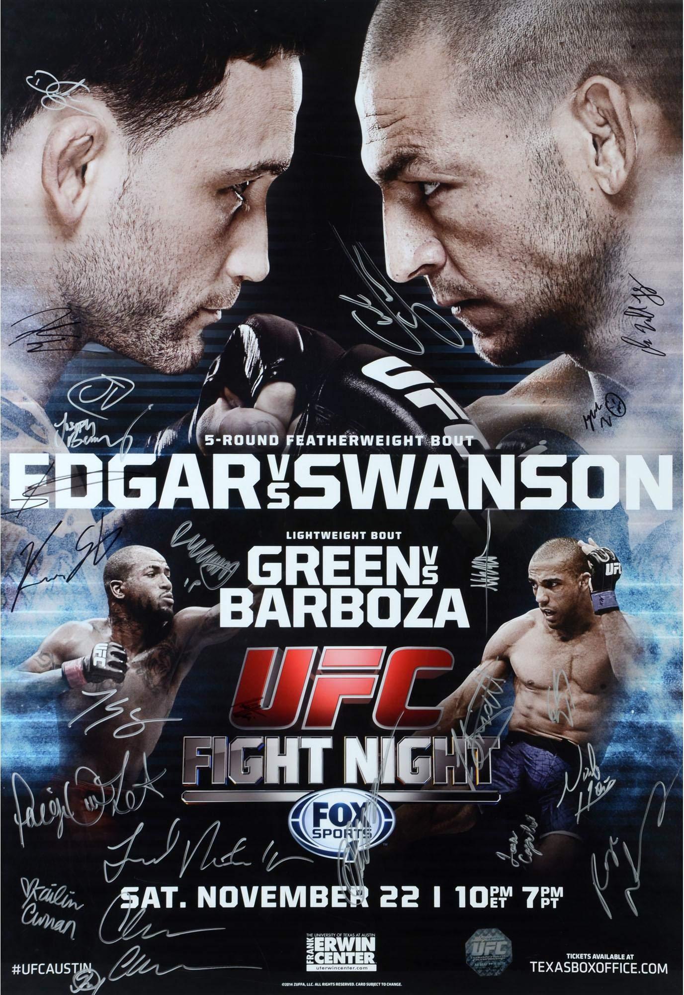 "UFC Fight Night 57 Edgar vs. Swanson Autographed 27"" x 39"" 24 Signature Event Poster Fanatics Authentic Certified"