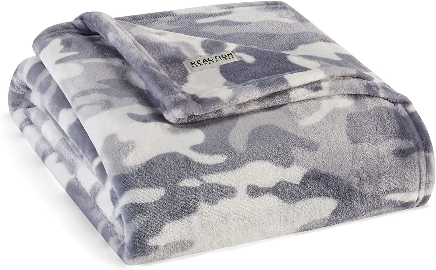 """Kenneth Cole REACTION Blend Out Grey 50"""" X 70"""" Ultra Soft Plush Fleece Throw Blanket"""