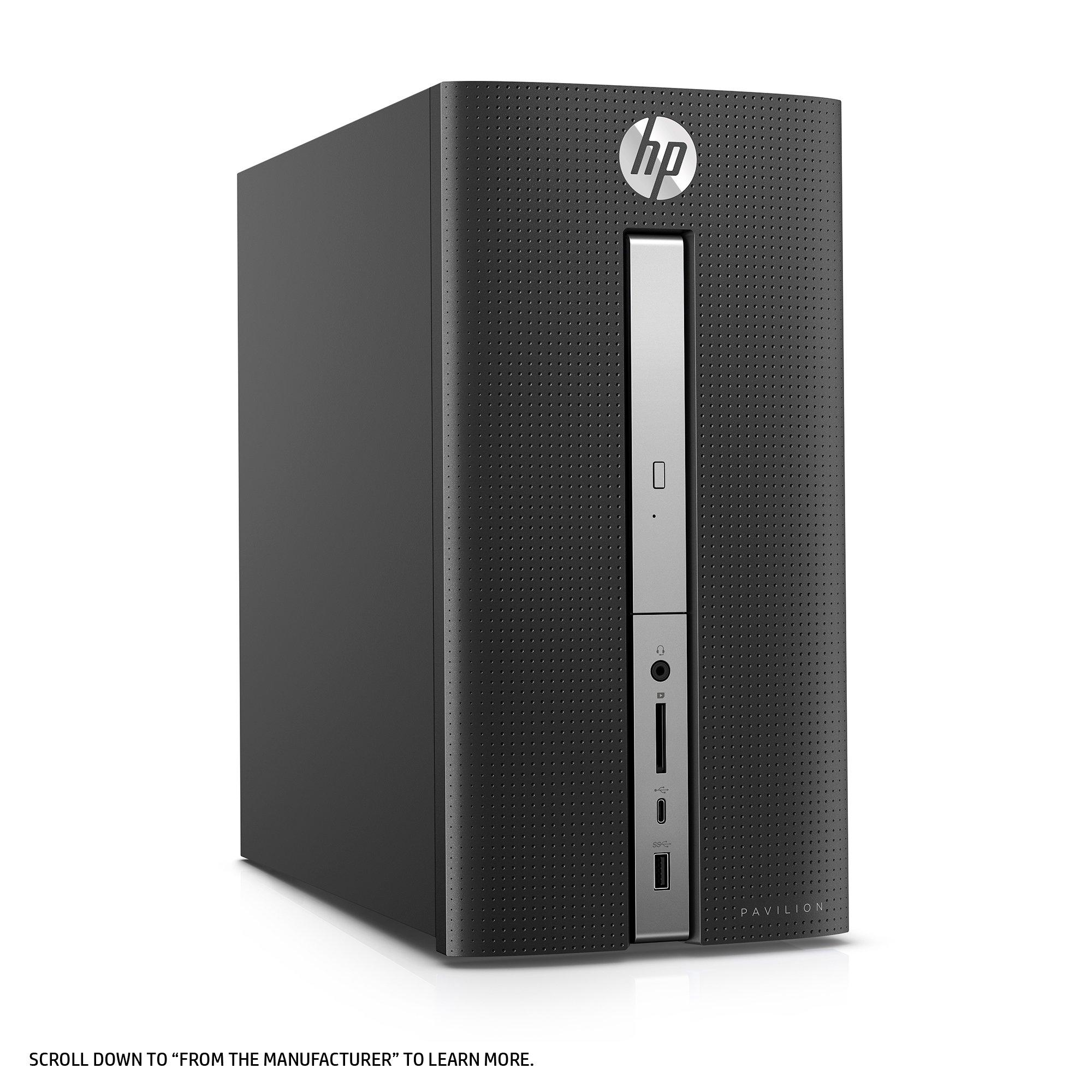 HP Pavilion Desktop Computer, Intel Core i7-7700, 12GB RAM, 1TB hard drive, Windows 10 (570-p030, Black) by HP (Image #4)