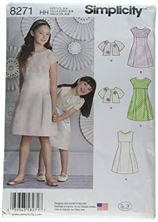 bbdd96d10db3c Simplicity 8271 HH et Robe pour Fille pour Enfant et Veste Patron de  Couture