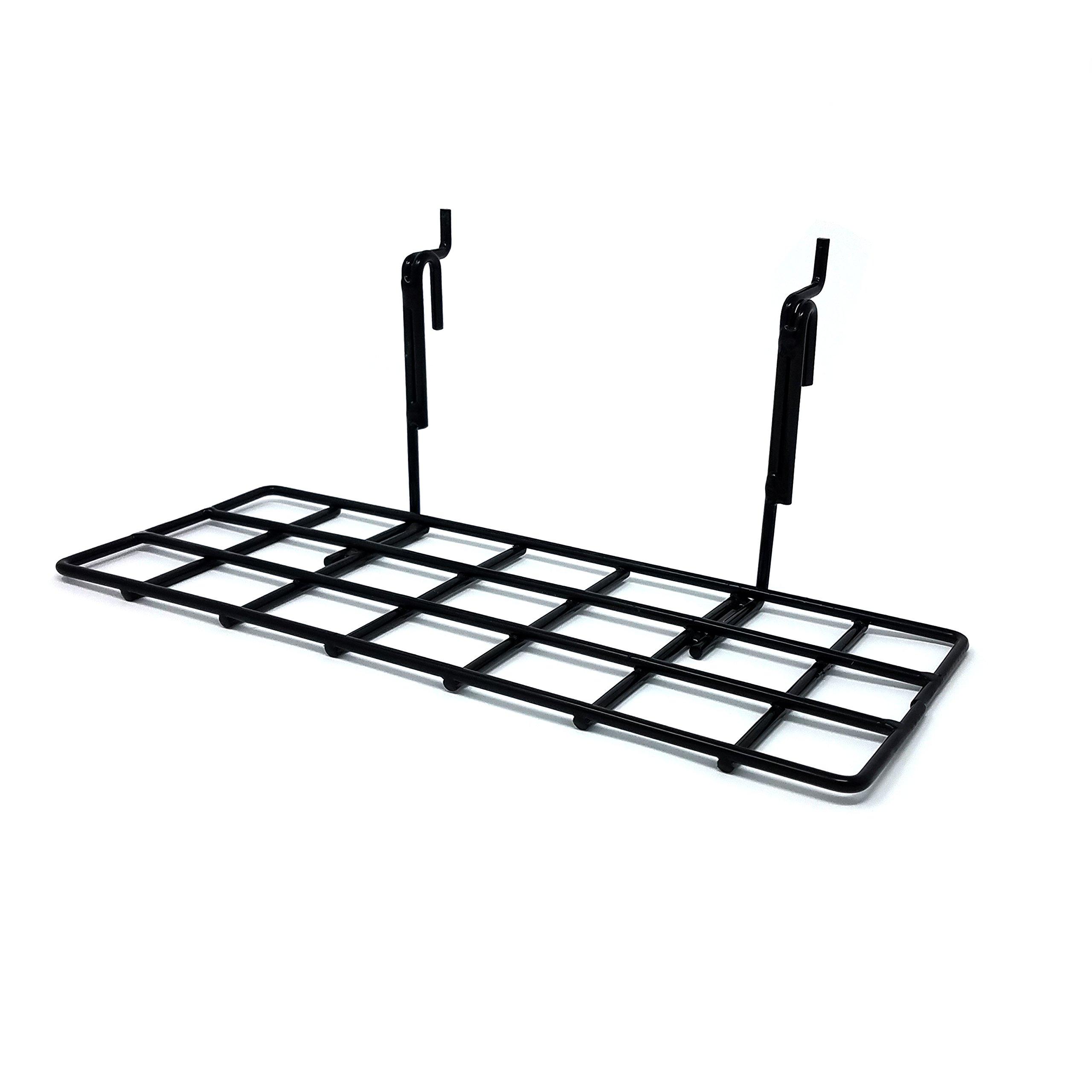 Slatwall, Pegboard, Gridwall Flat Wire Retail Display Shelf - Black - 4'' D x 10'' L - 10 Pack