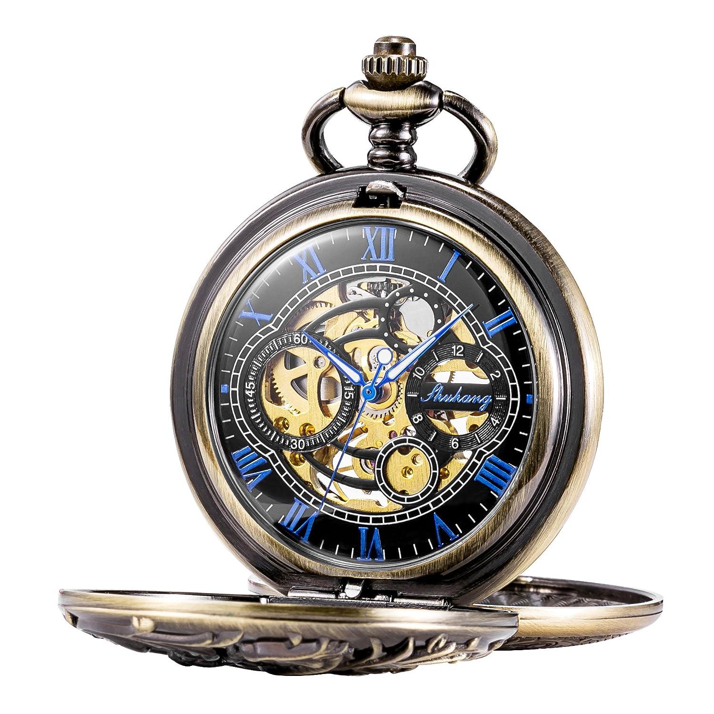 TREEWETO Mechanical Pocket Watch Dream Dragon Skeleton Half Hunter Double Open Silver Bronze Black Case