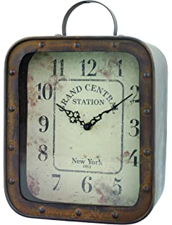 Amazon imax 68171 world map suitcase clock home kitchen stonebriar large square rustic metal table top clock with handle and rivet detail industrial home gumiabroncs Gallery