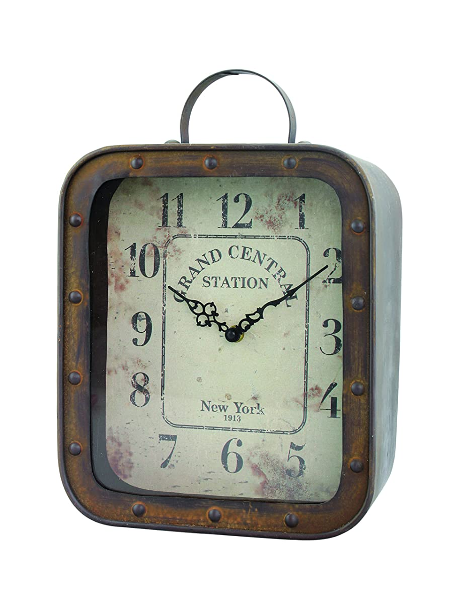 Stonebriar Large Square Rustic Metal Table Top Clock with Handle and Rivet Detail, Industrial Home Decor Accents for the Mantel, Shelf, Desk, or Any Table Top, Battery Operated