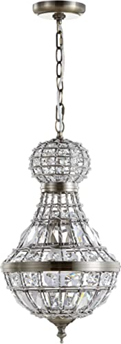 JONATHAN Y JYL6109A Regina 12 Crystal Metal Empire LED Chandelier Glam,Contemporary,Transitional Dimmable, Adjustable, for Foyer, Closet, Dining Room, Kitchen, Antique Brass Clear