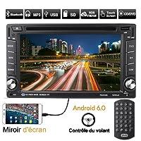 Autoradio Bluetooth GPS, CATUO 6'' 1080P Android 6.0 Auto CD Tuner DVD VCD Player/Auto Mp5 Player/Car Radio/Auto Multimedia Player, unterstützt Mirrorlink/Bluetooth Freisprecheinrichtung/WiFi/AM/FM/RDS/DVR/SD/USB/TF/AUX IN/Ausgabe/Digitaler TV/OBD2/Lenkradsteuerung/Rückkamera Eingang, mit Fernbedienung/GPS-Antenne