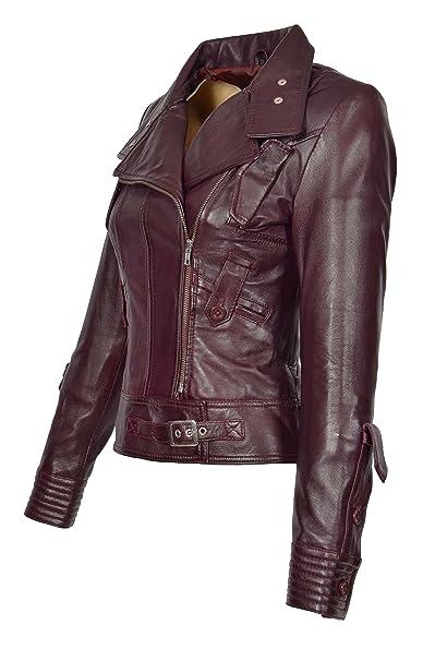 b11eb5108fedf4 Damen Weich Echtes Leder Biker-Jacke Reißverschluss Ausgestattet Designer  Mantel Wein - Sheila (XS