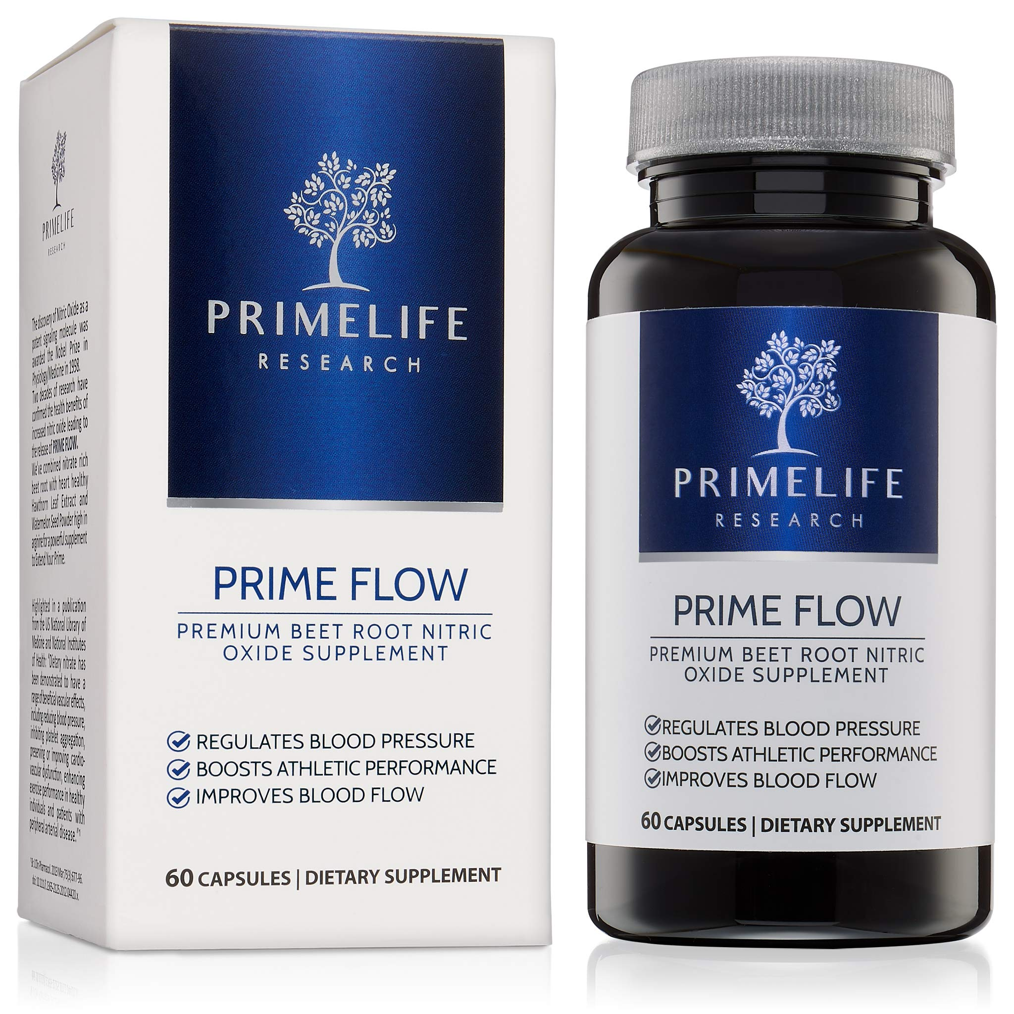 Beet Root Nitric Oxide Supplement - Prime Flow | Daily Dietary Nitrate Supplement | Lower Blood Pressure Naturally | Improve Heart Health | Increase Blood Flow and Circulation by PrimeLife Research