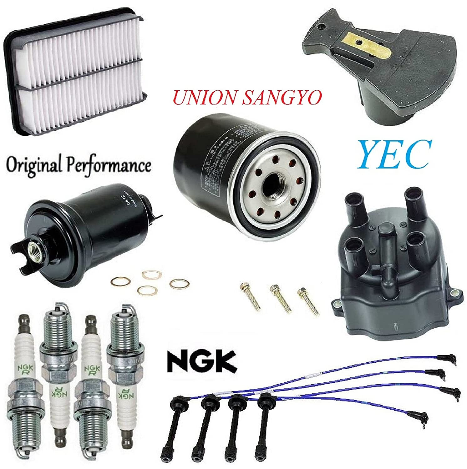 Tune Up Kit Filters Cap Rotor Spark Plugs Wire for Toyota Tacoma L4; 2.4L 1995-1997 (To 6/97 2RZFE Eng) 8USAUTO