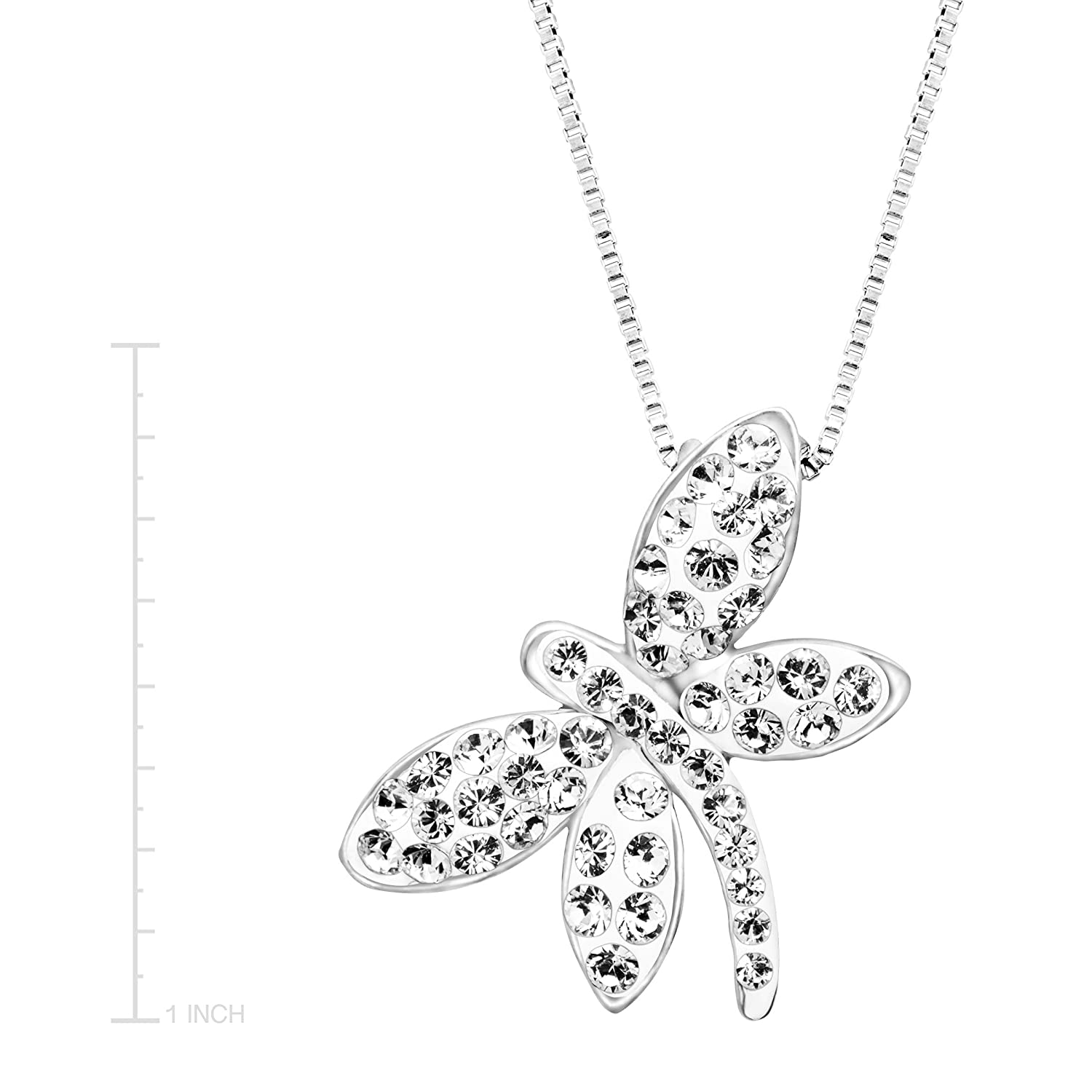 64eb822a5 Amazon.com: Crystaluxe Dragonfly Pendant Necklace with White Swarovski  Crystals in Sterling Silver, 18