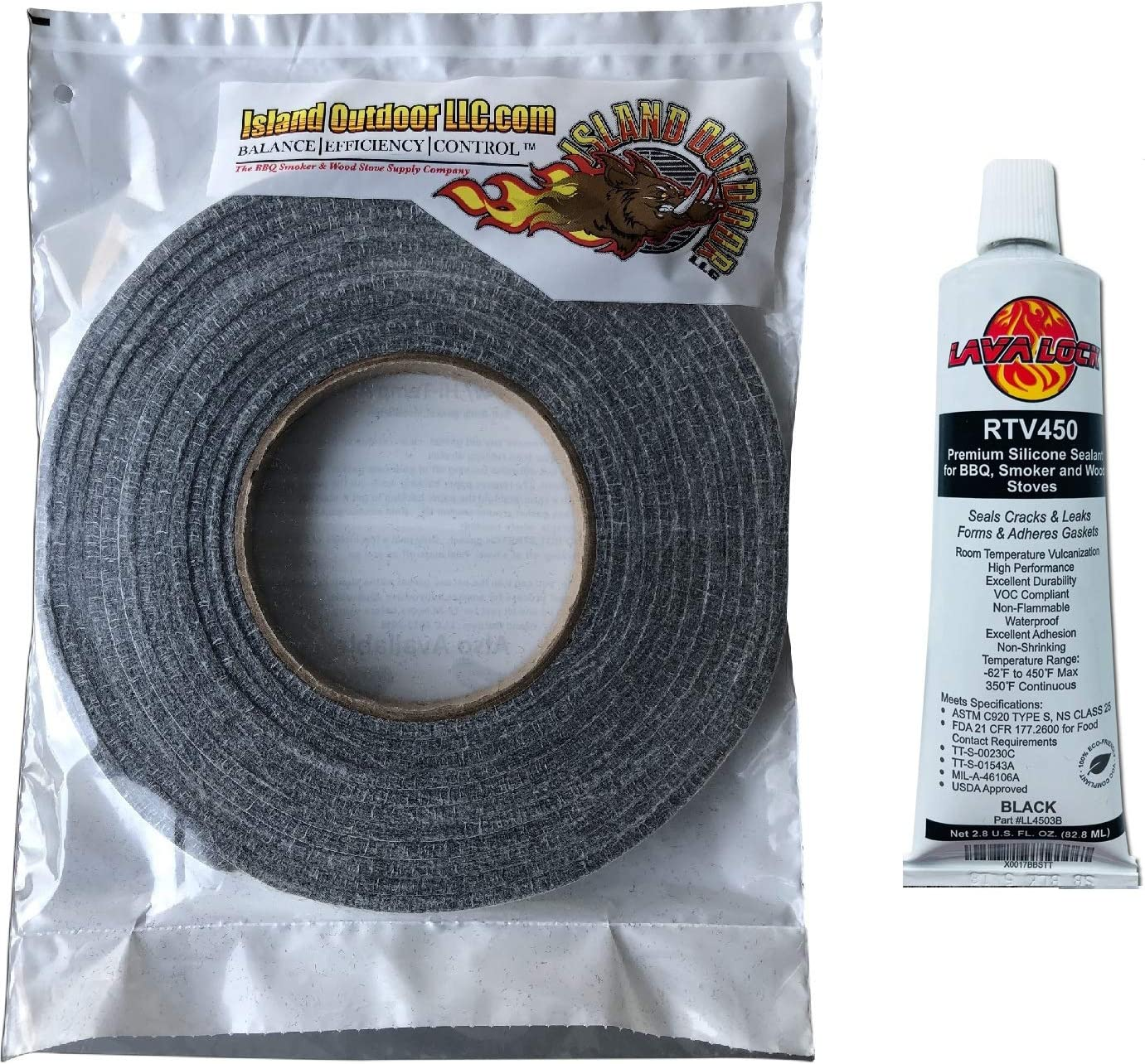 "LavaLock® Self Stick Kit 1/2"" x 1/8"" Grey BBQ Smoker Gasket Black RTV Grill Sealer Hi-Temp"