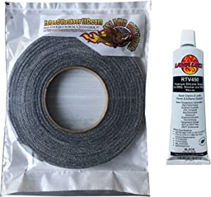 "LavaLock® Self Stick Kit 1/2"" x 1/8"" Grey BBQ Smoker Gasket Black RTV Grill Sealer Hi-Temp"