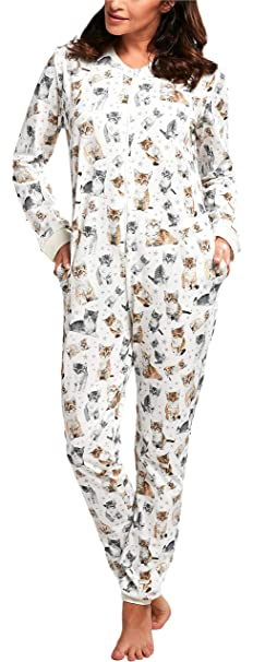 Cornette Pijama Entero para Mujer CR-107 (Ecru (Lovely Cats3), S