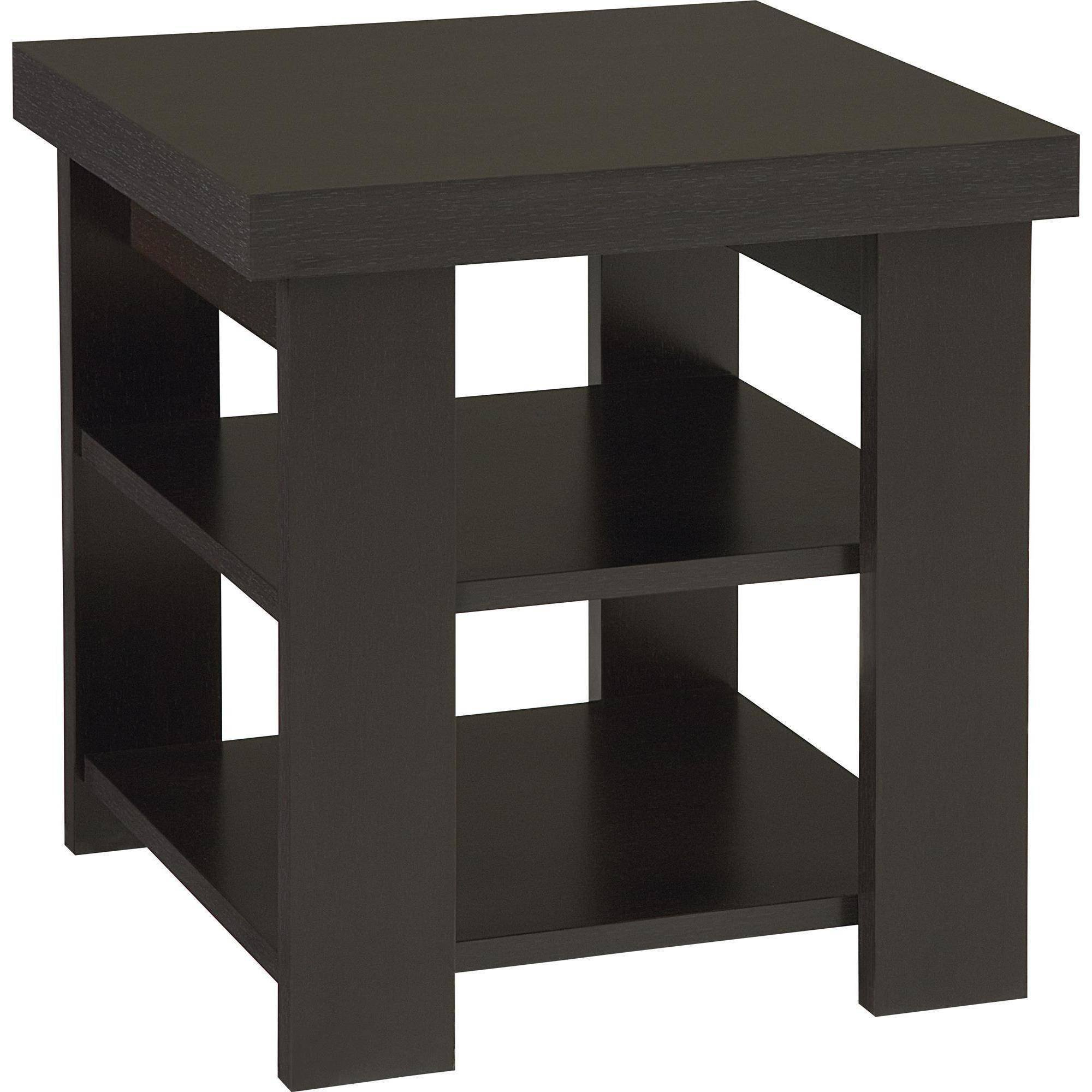 Robust Square Top Coffee Table with 2 Shelves for Storage, Divider on The Lower Shelf, Made of Laminated Particle Board and MDF, Modern Design, Assembly Required, Black + Expert Home Guide