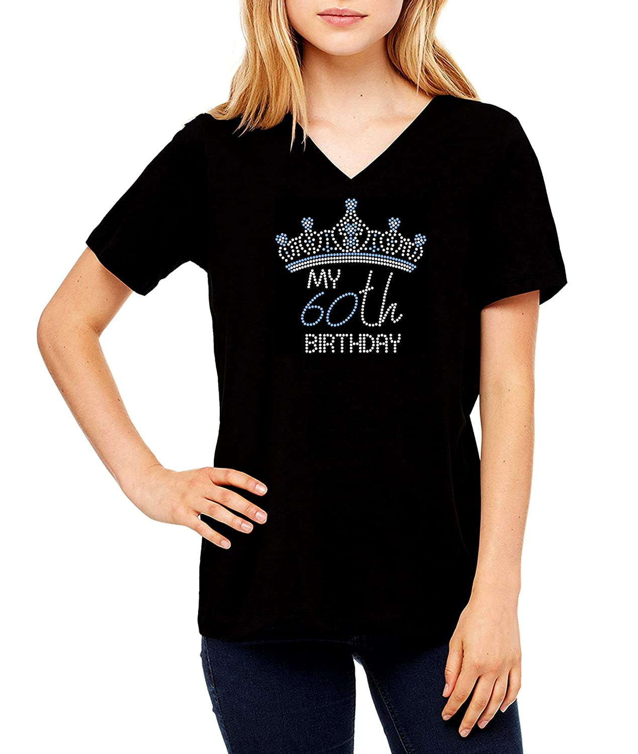 Specify Age and Pick Rhinestone Color 60th 61st 62nd 63rd 64th 65th 66th 67th 68th 69th 60 61 62 63 64 65 66 67 68 69 Scoop V-Neck Crew My 60th Birthday Crown Tiara RHINESTONE T-Shirt Shirt Bling