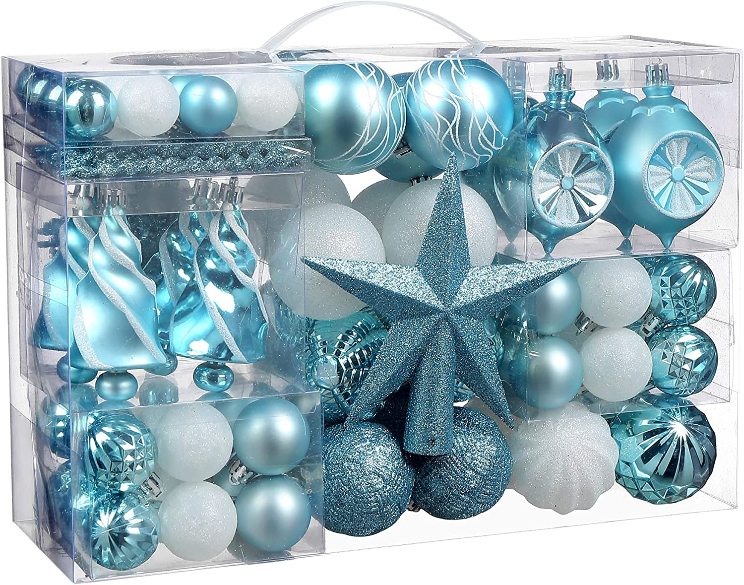 Christmas Ball Ornaments, 99 Pcs Assorted Shatterproof Christmas Ball Set with Gift Package, for Christmas Tree Decor(Light Blue and White)