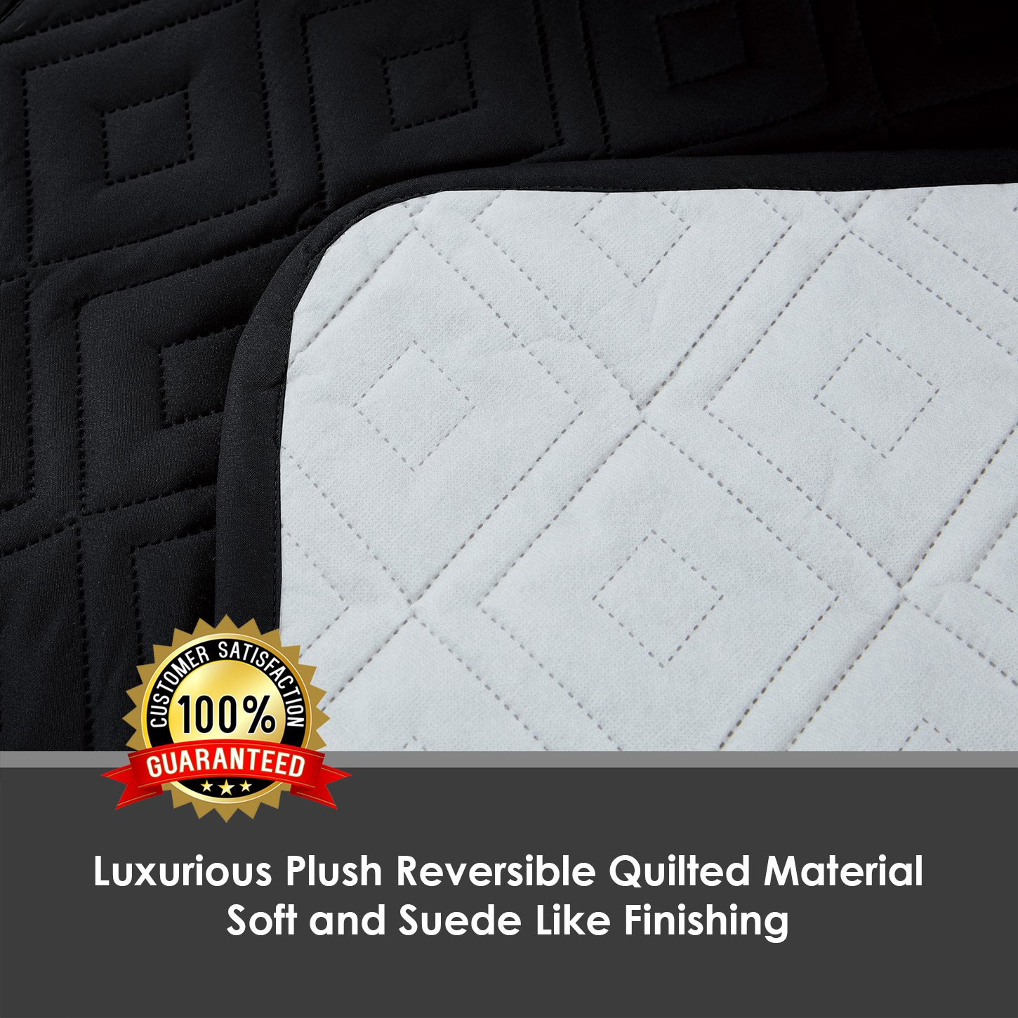 2 /& 3 Seater Imperial Rooms New Luxury Quilted Furniture Cover Sofa Protector Settee Cover Throw Water Resistant Embossed Pattern Available in Three Sizes 1 One Seater, Black