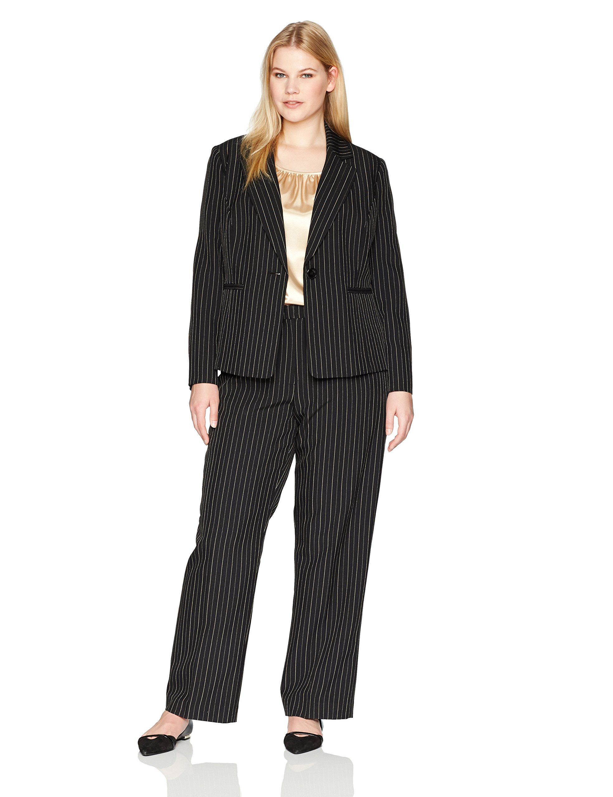 Le Suit Women's Plus Size Pinstripe 1 Button Pant Suit with Cami, Black/Beach, 20W by Le Suit