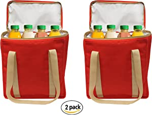 Insulated Grocery Bags Reusable Heavy Duty Nylon Thermal Cooler Tote Leakproof with Zipper Closure Keeps Food Hot or Cold Great for Food Delivery Ubereats, Doordash, Grubhub (Red)