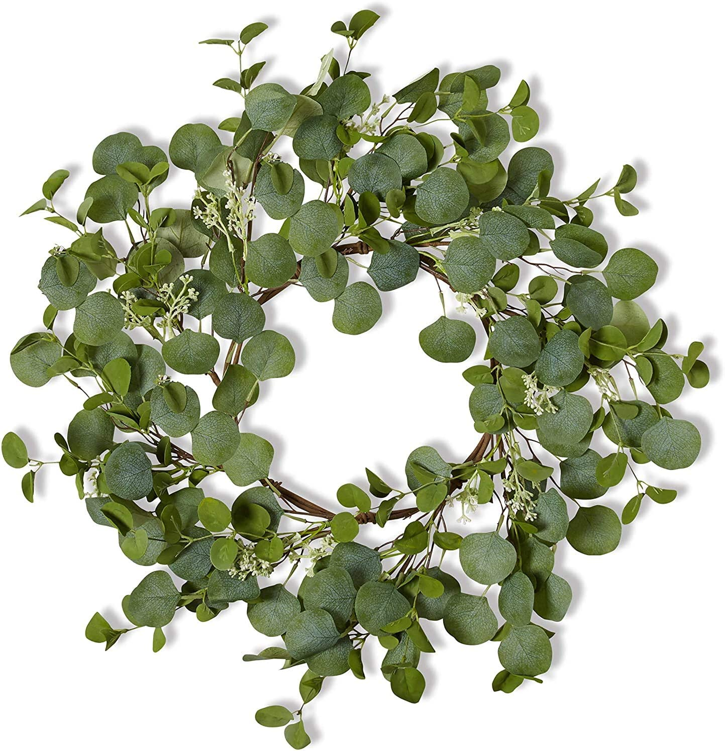 Farmhouse Eucalyptus Wreath - Round - 22 Inch - Artificial Greenery - Beautiful Soft Green - Bendable - Front Door Decoration - Rustic Indoor Decor - Kitchen - Natural Home Wall Decor - Spring/Summer