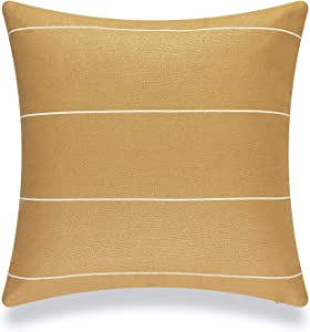Hofdeco Modern Boho Patio Indoor Outdoor Pillow Cover ONLY for Backyard, Couch, Sofa, Mustard Yellow Striped, 20