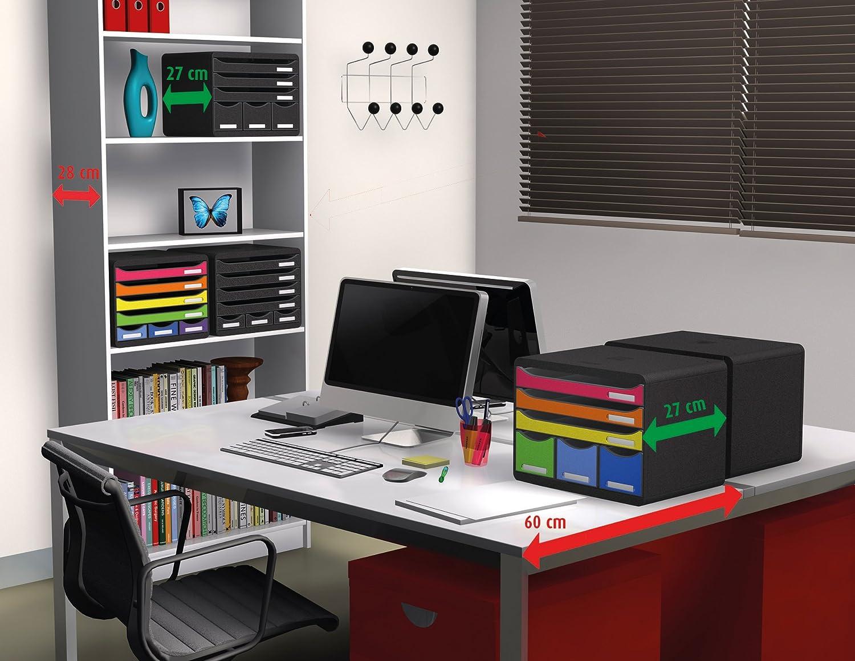 Exacompta 310703D Ablage-//Big Box mausgrau//k/önigsblau 34,7 x 27,8 x 26,7 cm, mit 4 offenen Laden, geeignet f/ür Dokumente DIN A4, robust und belastbar