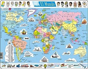 Larsen K1 El Mapa político Mundial, edición en Español, Puzzle de Marco con 107 Piezas: Amazon.es: Juguetes y juegos