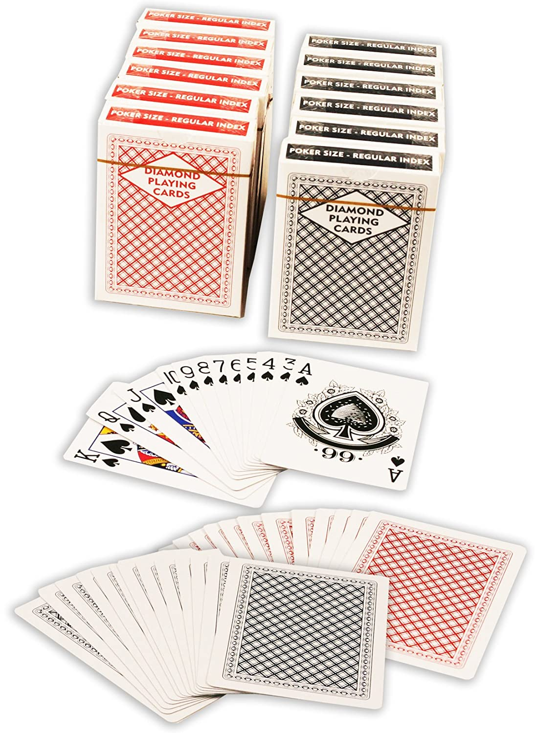 Amazon.com: Diamond Playing Cards: 12 Decks (6 Red, 6 Blue) Poker ...