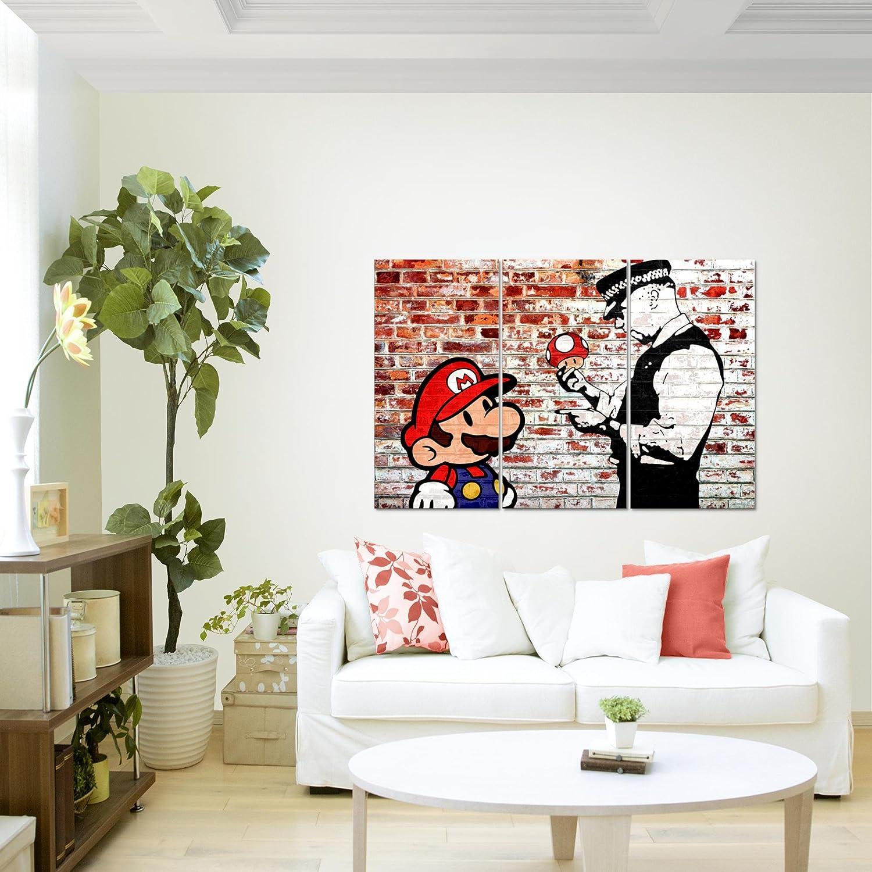 Elegant Bilder Mario And Cop Banksy Ziegel Mauer Wandbild 120 X 80 Cm   3 Teilig  Vlies